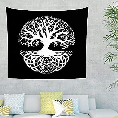 Tapiz de pared negro y blanco, diseño celta del árbol de la vida ...