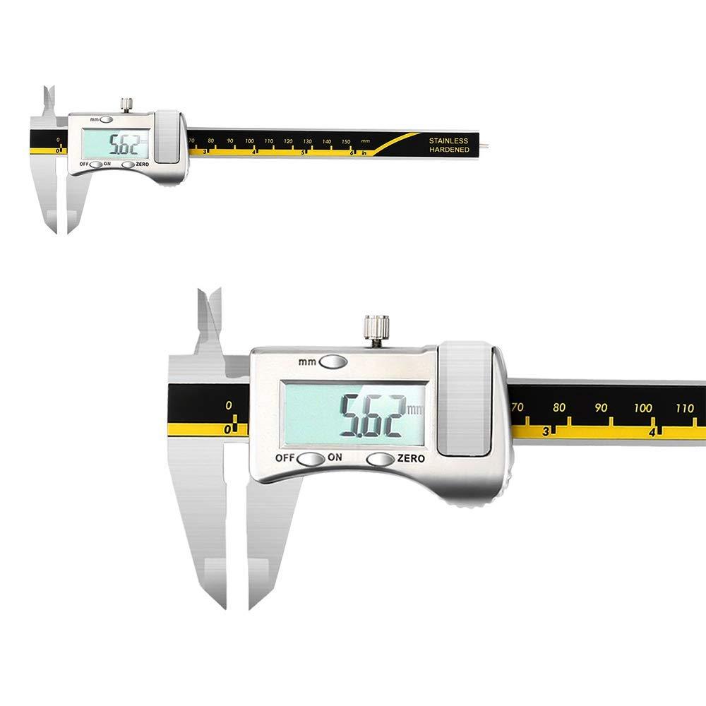 0-150 mm calibrador Vernier de acero inoxidable con pantalla LCD extragrande Negro resistente al agua Calibrador digital medidor de profundidad de conversi/ón m/étrico IP54