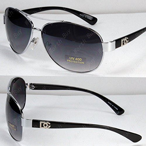New DG Eyewear Aviator Fashion Designer Sunglasses Shades Mens Women Black - Sunglasses Celebrity Aviator