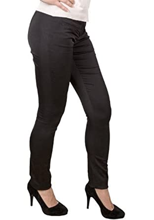 New Ladies Satin Skinny Slim Fit Shiny Black Jeans Trousers Womens
