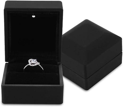 ALLEU caja joyero de para compromiso y boda negro caja del anillo LED