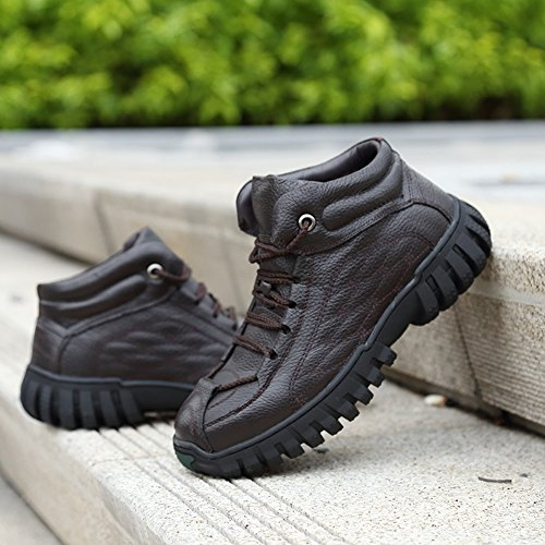 Gomnear Heren Wandelschoenen Warme Trekking Schoenen Bontvoering Antislip Outdoor Klimmen Sneakers Bruin