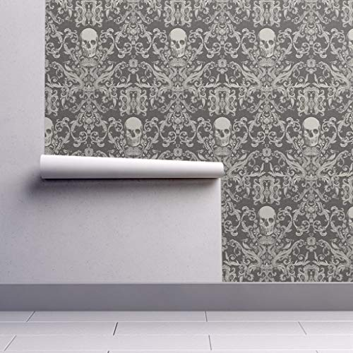 Peel-and-Stick Removable Wallpaper - Skull Damask Gothic Gray Damask Bones Skull Haunted Spooky Goth Punk by Willowlanetextiles - 24in x 96in Woven Textured Peel-and-Stick Removable Wallpaper Roll