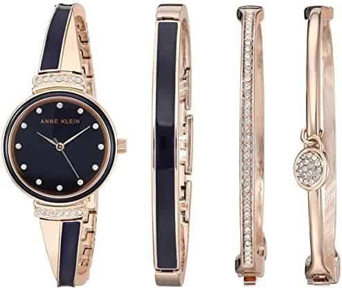 Anne Klein Women's AK/2716RNST Swarovski Crystal Accented Rose Gold-Tone and Navy Blue Watch and Bangle Set