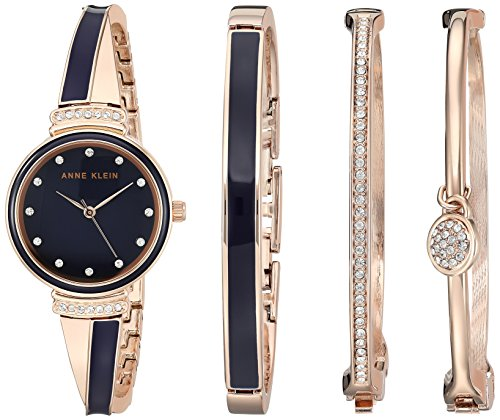 (Anne Klein Women's AK/2716RNST Swarovski Crystal Accented Rose Gold-Tone and Navy Blue Watch and Bangle Set)
