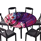 "Round Premium Table Cloth Jazz Singer Performing with Microphe Grunge Background or Everyday Dinner, Parties 47.5""-50"" Round (Elastic Edge)"