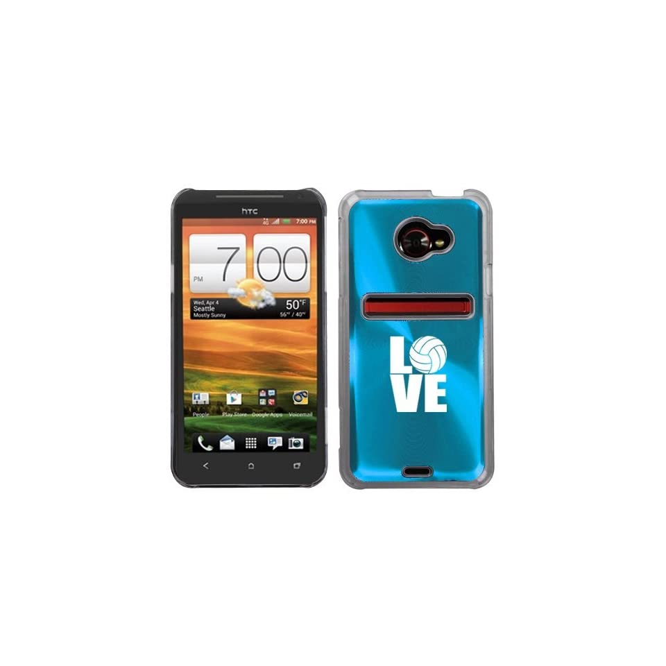 Light Blue HTC Evo 4G LTE Aluminum Plated Hard Back Case Cover N235 Love Volleyball Cell Phones & Accessories