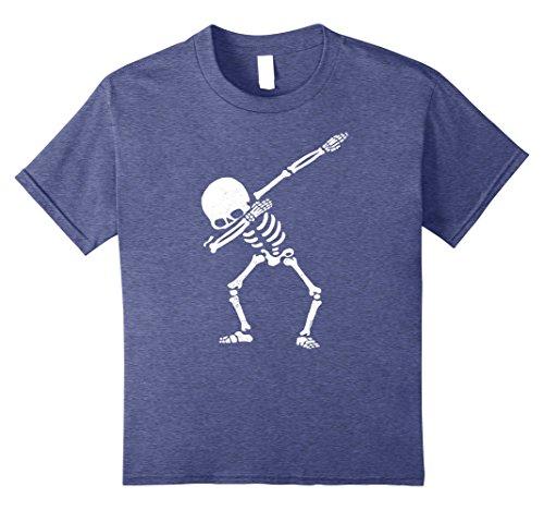Kids Dabbing Skeleton Shirt Dab Hip Hop Skull Shirts 8 Heather Blue by Dabbing Animals