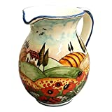 CERAMICHE D'ARTE PARRINI - Italian Ceramic Art Pottery Jar Pitcher Vino Vine 0.4 Gal Hand Painted Decorated Landscape Poppies Made in ITALY Tuscan