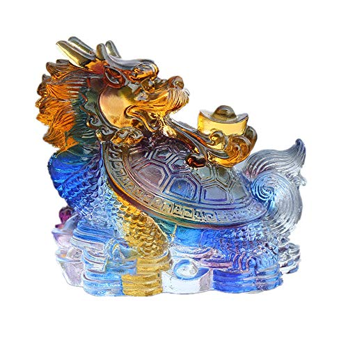 Feng Shui Colored Glaze Dragon Turtle with a Gold Ingot Wealth Protection Statue Home Décor ()