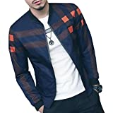 LOGEEYAR Men's Bomber Jacket Casual Slim Fit Printed Outerwear Coat(Blue orange-S)