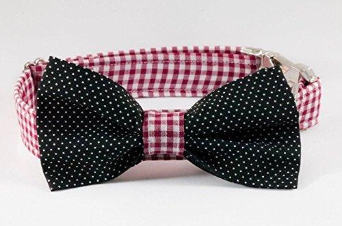 Garnet Bow (Garnet and Black Gingham Gamecocks Dog Bow Tie Collar)