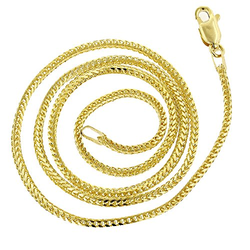 IcedTime 14K Yellow Gold Solid Franco Chain 1.2mm Wide Necklace with Lobster Clasp 20 inches long