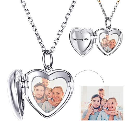 (Custom4U Sterling Silver Dainty Heart Shape Locket Folding Pendant Necklace Fine Jewelry Personalized Photo Locket for Wife)