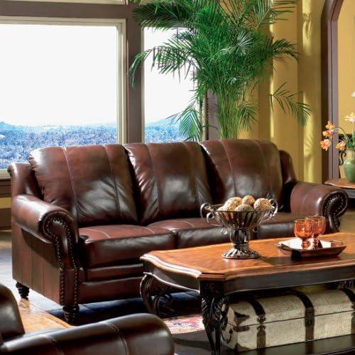 3pc Princeton Tri-Tone Burgundy Leather Sofa Loveseat & Recliner Chair Set