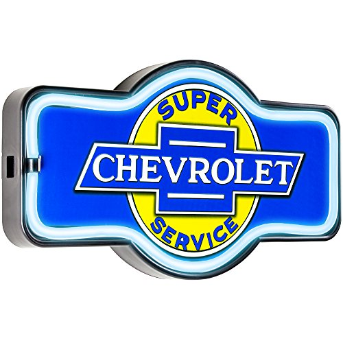 Officially Licensed Chevrolet Super Service LED Sign, New Improved Now with 6' Wall Plug Cord! LED Light Rope That Looks Like Neon, Wall Decor for Bar, Garage, or Man Cave from American Art Decor