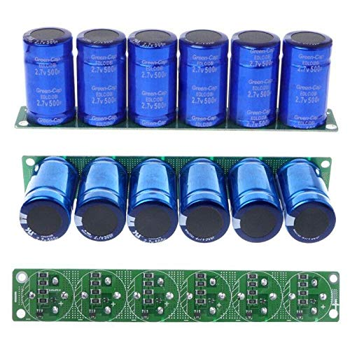 Romsion 6Pcs Farad Capacitor 2.7V 500F 35x60MM Super Capacitor with Protection Board Car Capacitor for Energy Storage