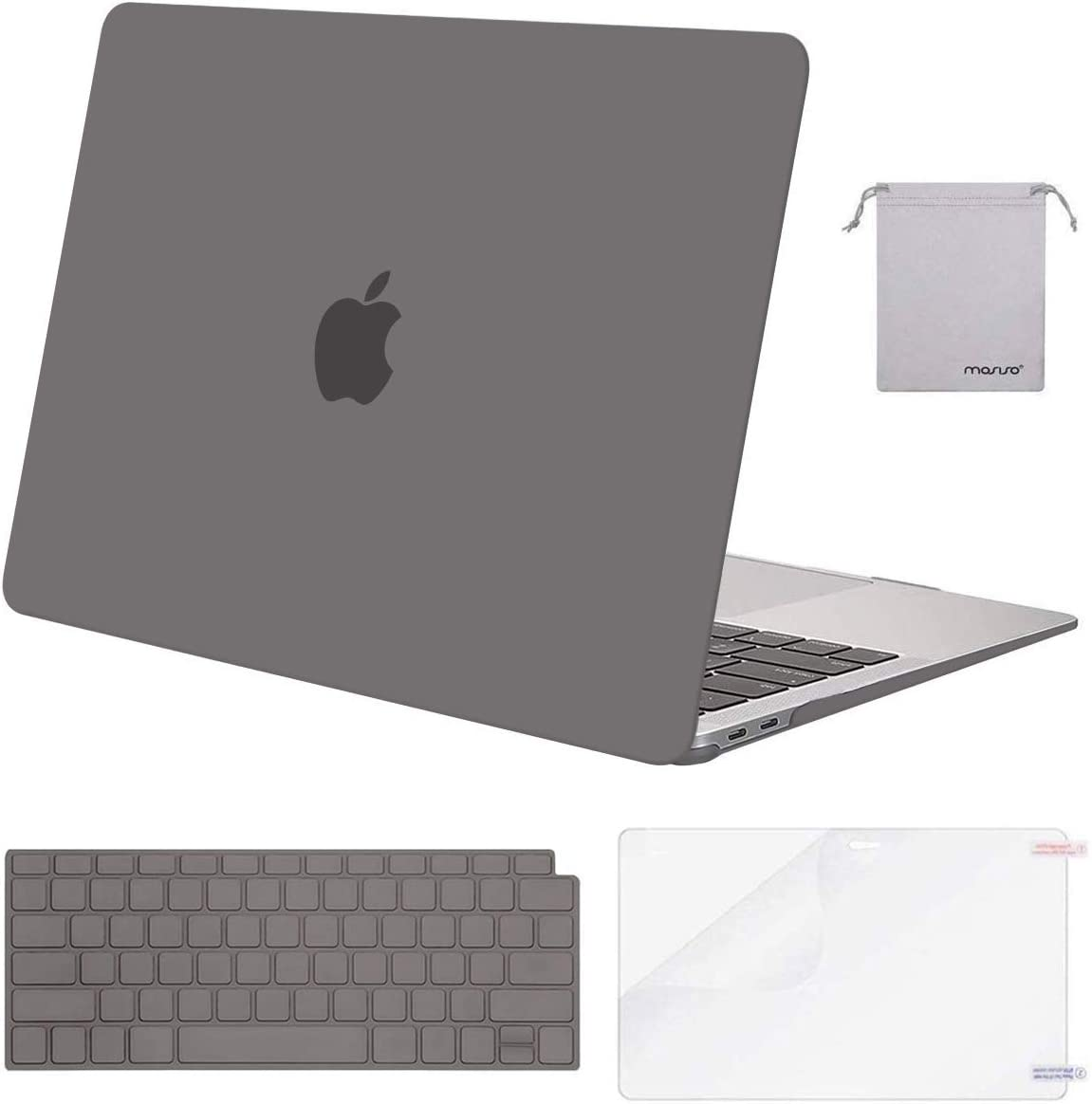 MOSISO MacBook Air 13 inch Case 2020 2019 2018 Release A2179 A1932 with Retina Display, Plastic Hard Shell&Keyboard Cover&Screen Protector&Storage Bag Compatible with MacBook Air 13, Gray