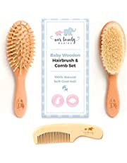 Baby Hair Brush & Detangler Comb Set | Natural Soft Goat Hair Bristles | For Newborns/Toddlers, Girls/Boys and Curly Hair | Cradle Cap or Kids Dandruff Solution | Perfect Baby Shower & Registry Gifts