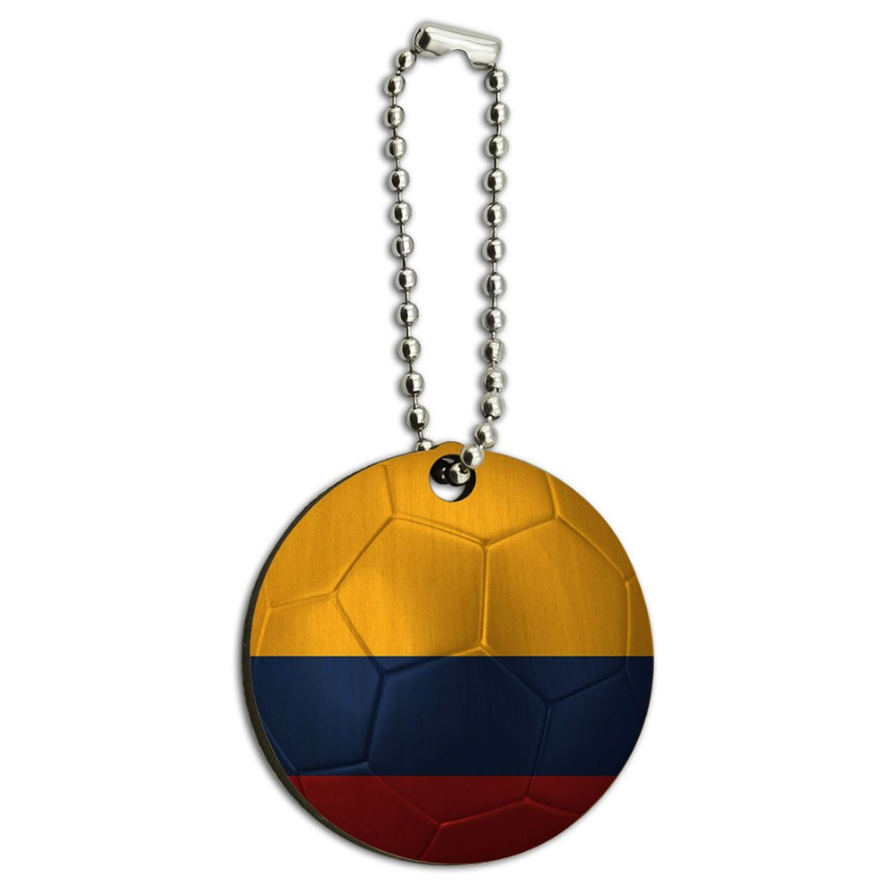 Colombia Flag Soccer Ball Futbol Football Wood Wooden Round Key Chain Graphics and More 00_BEXRBXTF_02