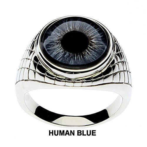 Blue Glass Ring (Men's Blue Glass Eye Ring with an Egyptian Inspired Setting by Steel Dragon Jewelry(Blue Human, 8))