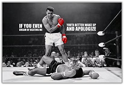 Muhammad Ali 8 Famous Motivation Quote Boxing Legend Signed Poster Black White