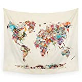 "Society6 World Map Watercolor Deux Wall Tapestry Medium: 68"" x 80"" offers"