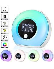 EXTSUD Wake Up Digital Alarm Clock for Bedrooms, Kids Digital Desk Bedside Clocks, Sleep Trainer, 7 LED Colors Night Light & Nature Sounds Sunrise Alarm, Calendar, Sleeping Function