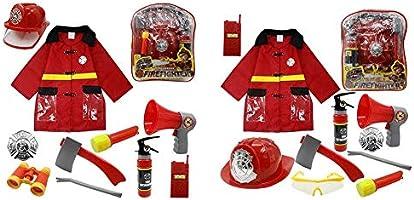 costume de jeu de r/ôle de chef des pompiers enfants pompier habiller ensemble cadeaux de pompier 11pcs enfants costume de pompier