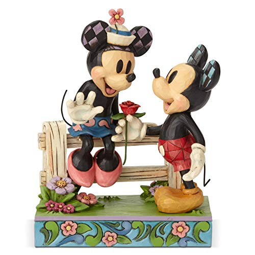 Enesco Disney Traditions by Jim Shore Mickey and Minnie Fence Figurine, 6.6 Inch, Multicolor