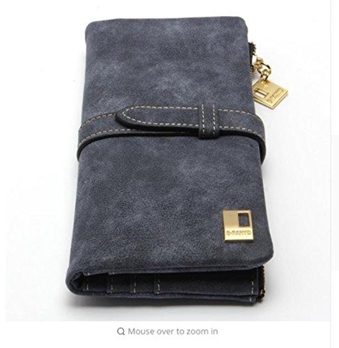 PAAT SHOP Fashion Women Wallets Drawstring Nubuck Leather Zipper Wallet Women's Long Design Purse Two Fold More Color Clutch (Black)