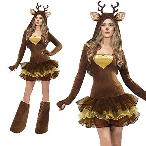Ouwoow Women Sexy Adult Animal Reindeer Christmas Outfit Cosplay Fancy Dress Costume (M) ()