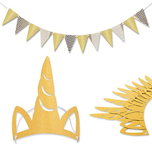 HECCEI Gold Banner Unicorn Horn No-slip Elastic Headband Party Hat Rubber Back Kids First Birthday Bunting Pennant Baby Bridal Shower Decorations Kindergarten Class Supplies
