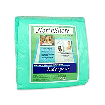 Image of NorthShore Premium, 36 x 36, 40 oz, Green Super-Absorbent Underpads (Chux), Ultra Large, Case/120 (12/10s) Home and Kitchen