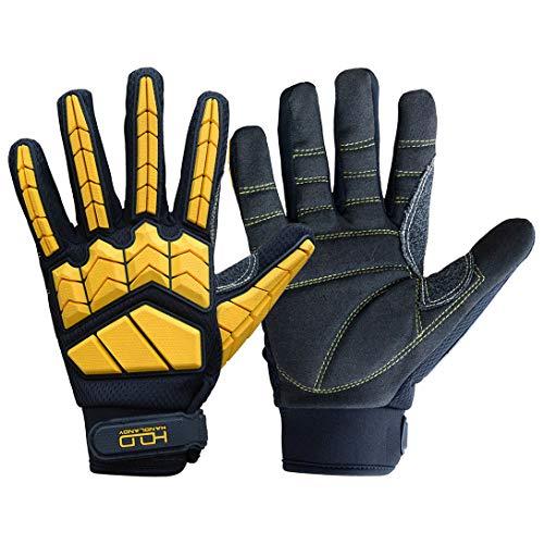 Heavy Duty Mechanic Glove,Premium Padded Rigger Glove(Anti-vibration,Anti-abrasion,Impact Gloves) (Extra Large, Black and Yellow)