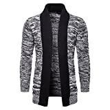 AOWOFS Men's Cardigan Knit Sweater Shawl Collar Open Front Casual Long Sleeve