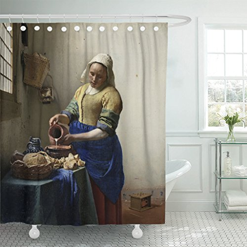 TOMPOP Shower Curtain the Milkmaid By Johannes Vermeer 1660 Dutch Painting Oil on Canvas Illuminated Light From Window Young Waterproof Polyester Fabric 72 x 72 inches Set with (Dutch Boy And Girl Costumes)