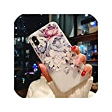 Embossed Flower Cherry Blossom Butterfly Phone Case for iPhone XR XS X XS Max 6 7 8 Plus Matte Soft TPU Phone Cover Gift,7,for iPhone 8