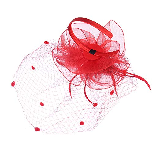 (Felizhouse Fascinators Hats for Women - Kentucky Derby Tea Party Headwear - Wedding Cocktail Headband Hair Clip - Feather Mesh Flower Veil Headpiece (Red))