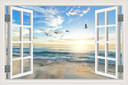 - HLJ ART Removable 3D Windows Landscape Wall Mural Stickers Home Decor Prints Painting Artwork (Design-A, 36x24inch)