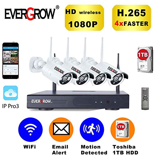 EVERGROW H.265 Home Security Camera System 4CH 1080P Wireless Surveillance CCTV DVR Kits 3X Signal Range, 4X Faster, 1/2 Storage, Smooth Image (CAM-WIFI-4CH-2MP) Review