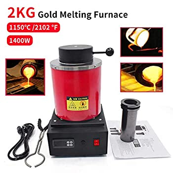 Image of Casting Machines 2KG Gold Melting Furnace 1150℃ /2102 ℉ Automatic Digital Melting Furnace Machine with Graphite Crucible for Precious Metals Gold Silver Jewelry,1400W