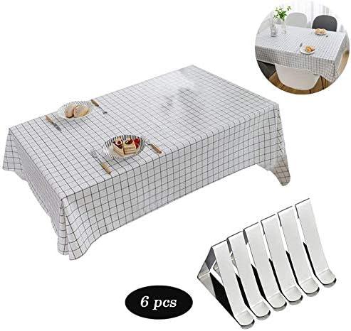 Mantel PVC clips mantel, paño de mesa impermeable rectangular limpio para jardín de cocina al aire libre o interior 140 * 180 cm-rejilla en blanco y negro: Amazon.es: Hogar