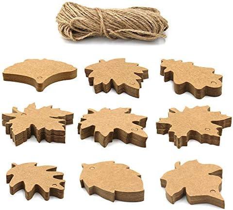 180 Stück Ahornblatt Geschenkanhänger, Hängend Kraftpapier Etiketten für Herbst, Erntedankfest, Hochzeit, Bastelgeschenke (180PCS-9 Shape - Kraft)