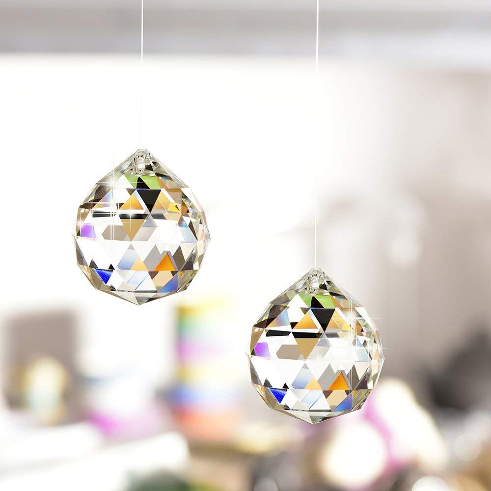 d/écoration int/érieure et cadeau 40 MM Petrichor cristal clair boule pendante pour la bonne chance et la prosp/érit/é
