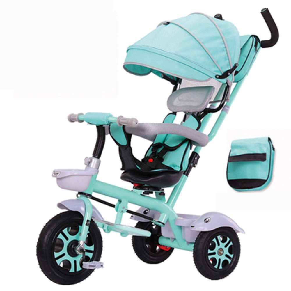 Axdwfd 子ども用自転車 キッズ三輪車キッズペダル自転車で日よけ屋根2-5歳赤ちゃん車男の子女の子おもちゃの車のギフト男の子と女の子  緑 B07PY3YMBL