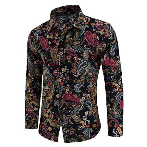 Realdo Mens Bohemian Shirt, Business Casual Boho Slim Long Sleeve Fit Print Blouse Top T-Shirt