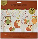 Amscan Colors of Fall Thanksgiving Party Woodland Friends Swirl Hanging Decoration (Pack of 12), Multicolor, 10 x 9.5 (Package Size)