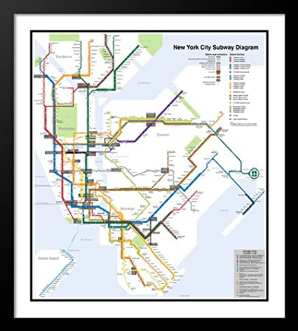 Framed New York Subway Map.Amazon Com Artdirect New York City Subway Map 25x29 Framed And