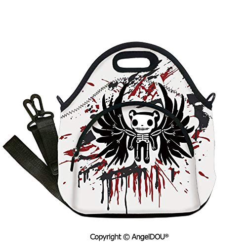 AngelDOU Halloween lightweight Portable Picnic tote lunch Bags Teddy Bones with Skull Face and Wings Dead Humor Funny Comic Terror Design for women Portable Insulated lunch box b12.6x12.6x6.3(inch)